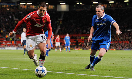 Javier Hernandez made his European debut against Rangers