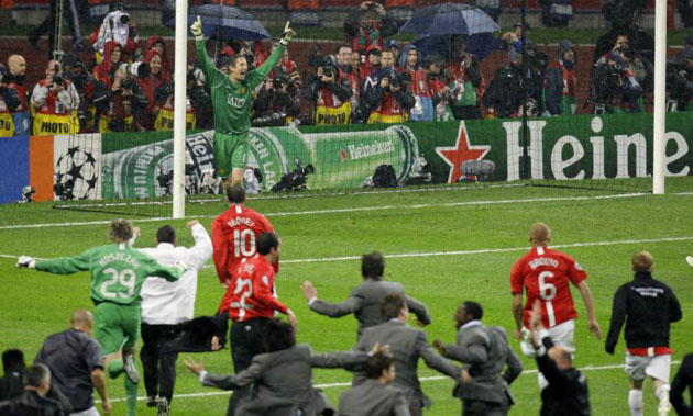 Manchester United celebrate winning the 2008 European Cup Final
