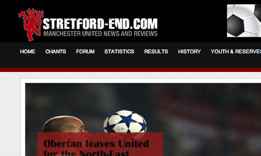 Stretford End's new website design