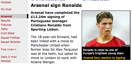 Arsenal sign Ronaldo