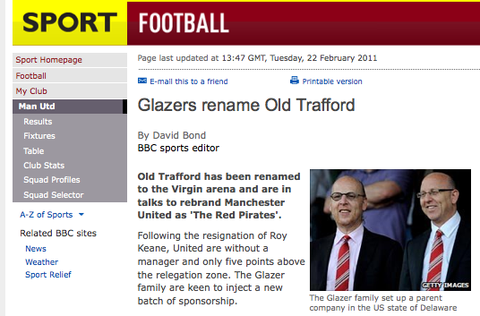 The Glazers rename Old Trafford