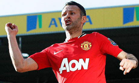Ryan Giggs scores against Norwich City last season