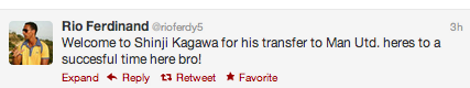 Rio Ferdinand tweets welcome message to Kagawa