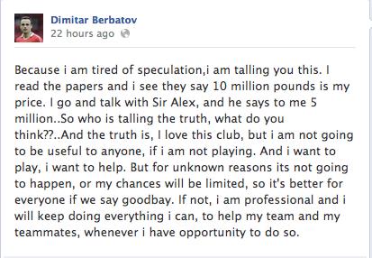 Berbatov's facebook post on his United future
