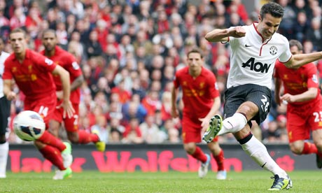 Robin van Persie scores against Liverpool last season