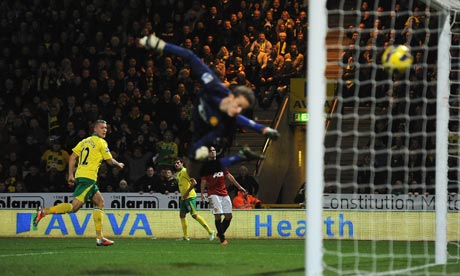 Anthony Pilkington heads home for Norwich City v Manchester United