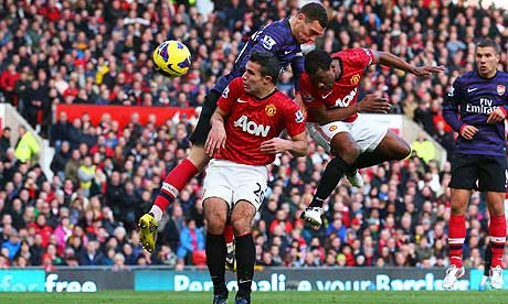 Patrice Evra scores against Arsenal