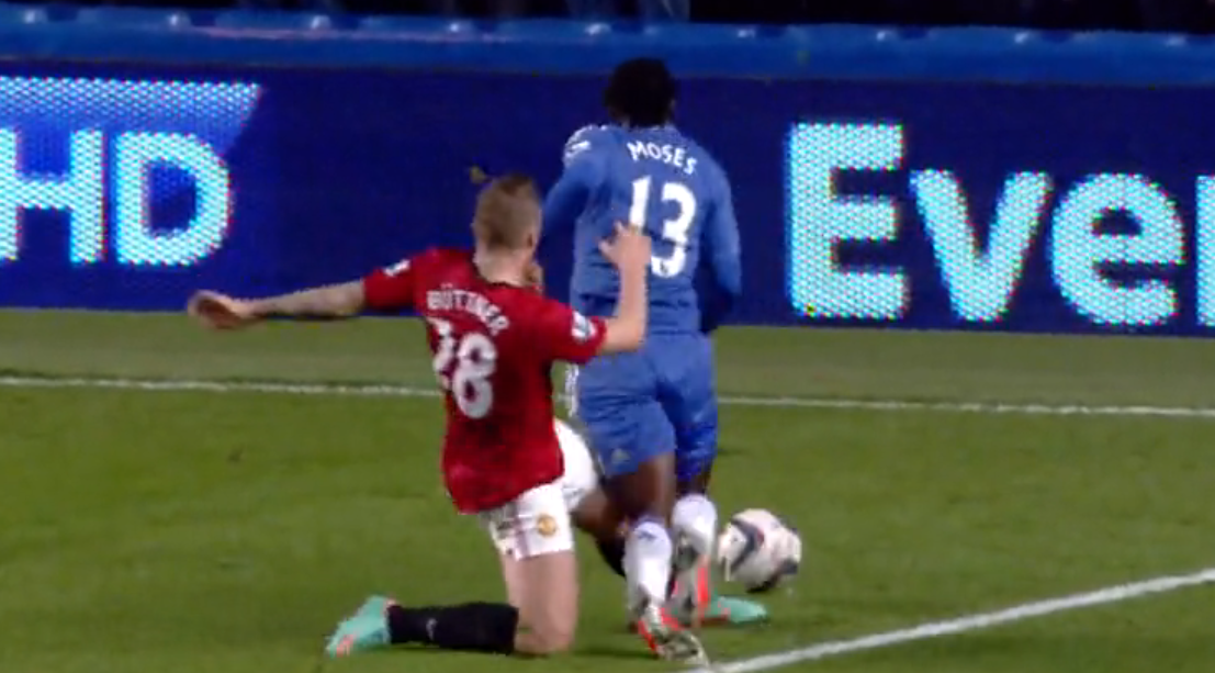 Buttner fouls moses in the box and Chelsea get a penalty