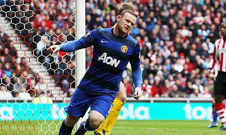 Wayne Rooney celebrates scoring for Manchester United against Sunderland