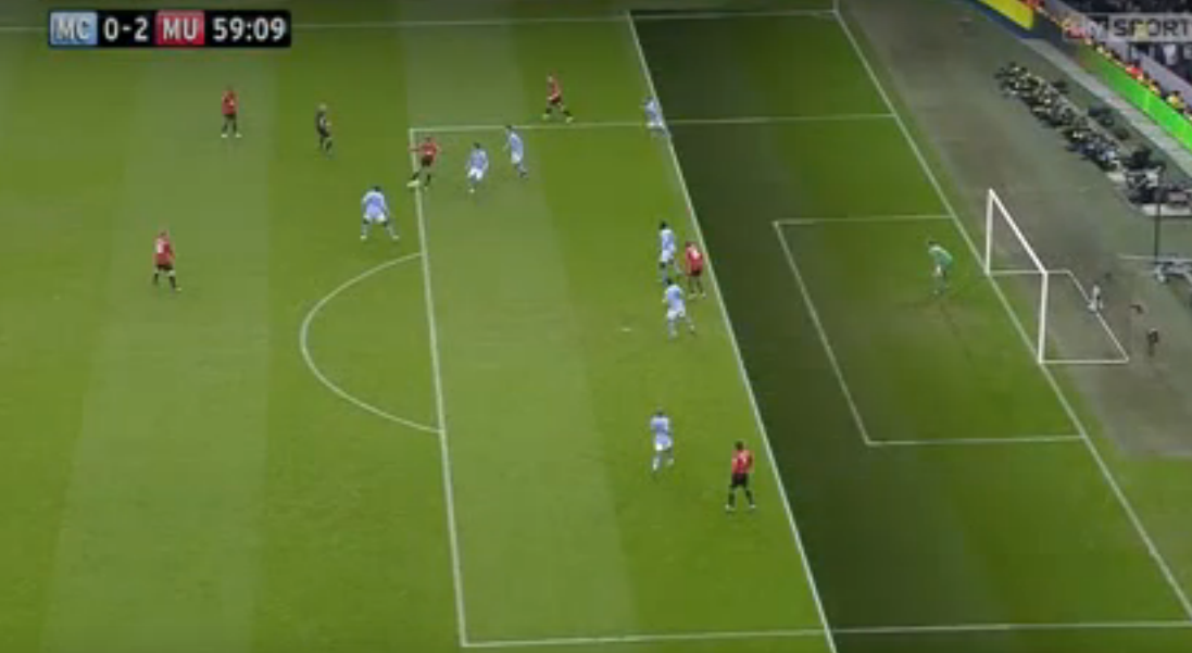 Ashley Young scores but it is given offside against Manchester City