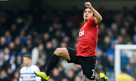 Manchester United's Rafael da Silva celebrates against Queens Park Rangers in the Premier League