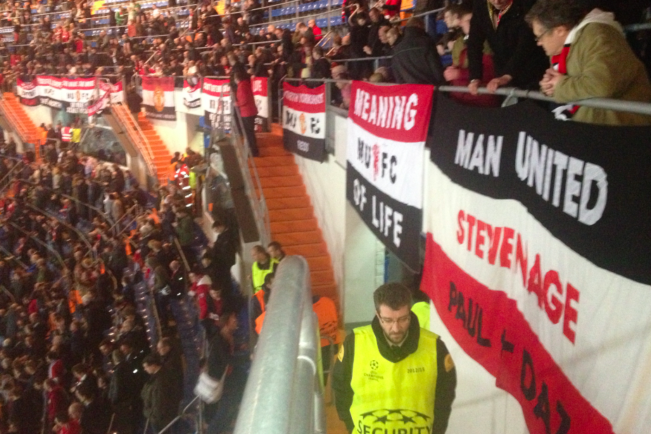 A view of the Manchester United banners in Madrid