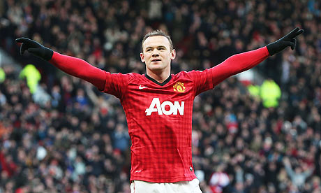 Wayne Rooney celebrates putting Manchester United 2-0 ahead against Chelsea in the FA Cup
