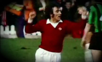 Lou Macari scores for Manchester United