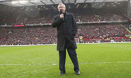 Sir Alex Ferguson addresses the of Manchester United crowd after the 2-1 victory over Swansea City