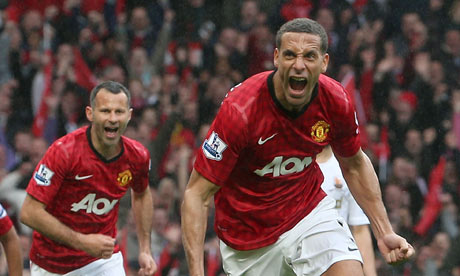 Manchester United's Rio Ferdinand celebrates the winner against Swansea City