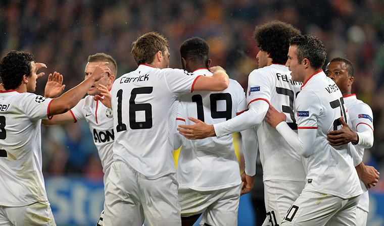 Manchester United FC players celebrate a
