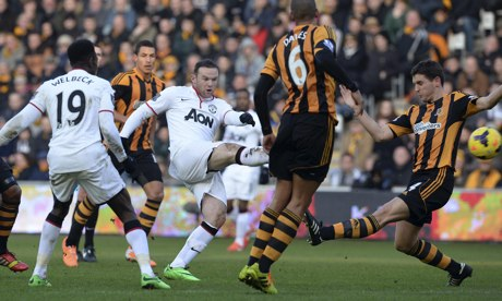 Wayne Rooney scores Manchester United's second goal against Hull City
