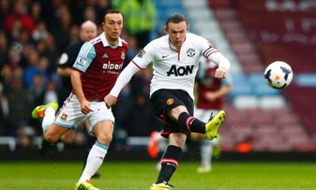 Wayne Rooney scores against West Ham
