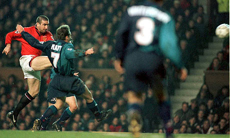 Eric Cantona scores against Arsenal in 1995/96