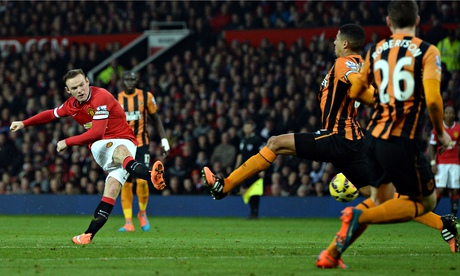 Wayne Rooney scores Manchester United's second goal in the Premier League match aginst Hull City.