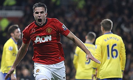 Robin van Persie scoring at Old Trafford