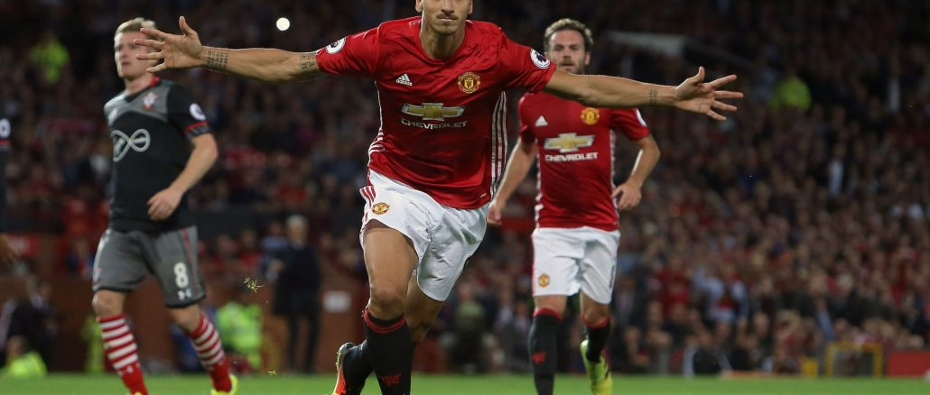 Zlatan Ibrahimovic celebrates his goal against Southampton