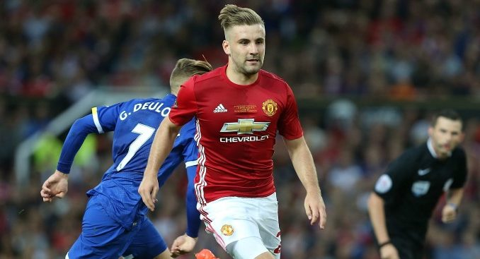 Luke Shaw playing against Everton at Old Trafford