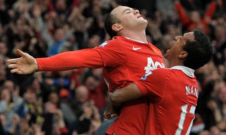 Wayne Rooney & Luis Nani celebrate