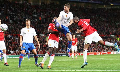 Ashley Young scores against FC Basel
