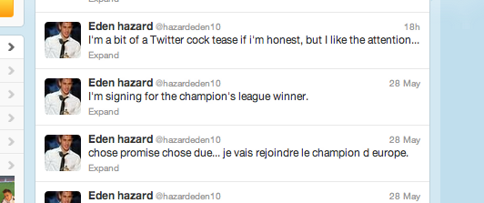 Eden Hazard twitter mock up