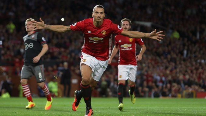Zlatan Ibrahimovic celebrates his goal against Southampton